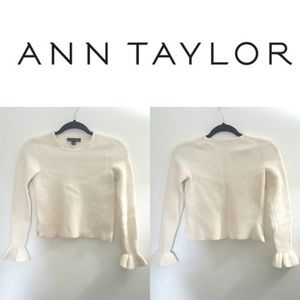 Ann Taylor Ruffled Cuff Long Sleeve Cream Sweater